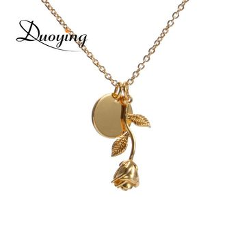 Duoying Personalized Name Jewelry Rose Engrave Discs Choker Necklace Monogram Flower Custom Nameplate Necklace&Pendant for eBay