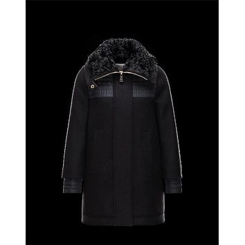 Moncler ERIDAN Turtleneck Fur Collar Black Jackets Wool/Nylon/Feather/Lambskin Womens