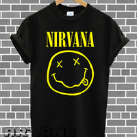 Nirvana Shirt Nirvana Band Logo T-shirt Printed Black Color Unisex Size - AR36