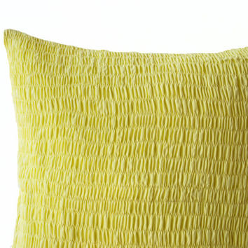 Yellow Cotton Voile Pillow - Ruched yellow pillow - Yellow cushion - Pleated pillow - 20x20- Cotton Cushions- Yellow Euro Sham