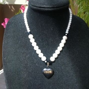 Dainty & Cute Designer Inspired Pearl Crystal Pendant Necklace