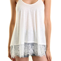 Tank Top w/Lace Hem, Off White