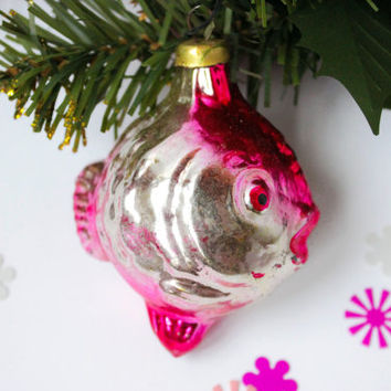 Fish Glass Ornament / 1950's Soviet Metallic Electric Pink Fish, Collectible Christmas Tree Holiday Decoration / Mercury Glass Figurine