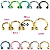 ac DCCKO2Q 10 Pieces Anodized Circular Barbell Horseshoe Piercing CBB Septum Lip Labret  Eyebrow Nose Ring Piercing Body Jewelry 16g