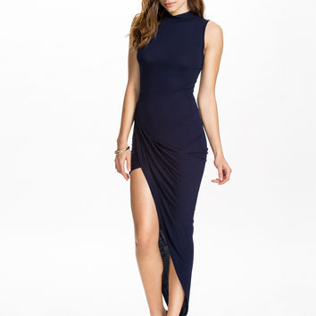 Dark Blue Sleeveless Asymmetrical Bodycon Dress
