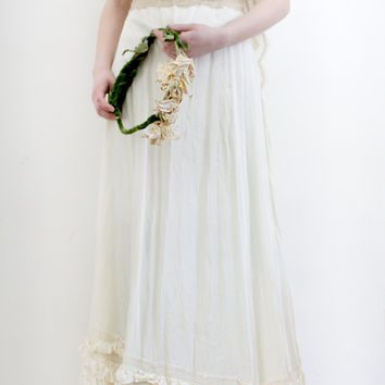 1920s Wedding Gown / Slip Dress / Bridal / Art Deco/ Ruffle Satin dress / Women SM
