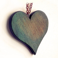 Wood Heart Necklace, Green heart pendant, Wooden Heart Pendant, Heart Jewelry, carved wood heart,  Heart Necklace, Tribal, Surfer, hippie