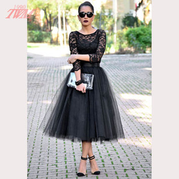 Modest Black Lace Cocktail Dresses Women Party Dress Tulle The Quarter Sleeve Back Zipper Tea Length Vestido De Festa