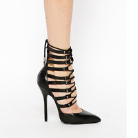 Rome Strap Pointed Toe Heels Stiletto Shoes