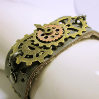 JEWELRY CUFF  Brown Leather Cuff Steampunk Bracelet Punk Style Gear Bracelet Lobster Clasp Held Gear Pendant Handmade Gift Ideas