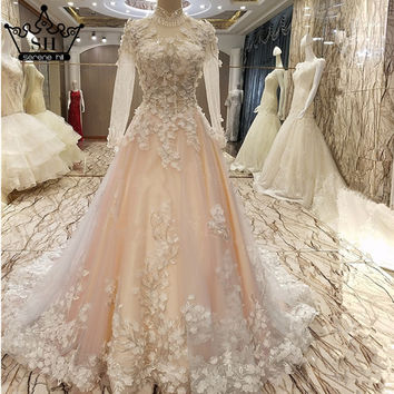 Luxury Sexy Long Sleeves Tulle Evening Dress Flowers Pearls High-Collar Elegant Evening Gown Robe De Soiree 2017 Serene Hill