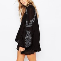 Free People Sweet Escape Embellished Blouse in Black