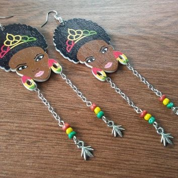 Cute Rasta, African, Afro girl,  dangle earrings