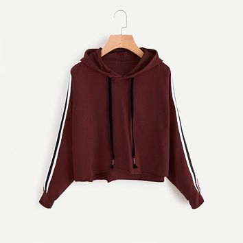 Fashion Long Sleeve Hooded Sweatshirt  Burgundy Women Autumn Drawstring Sweatshirt