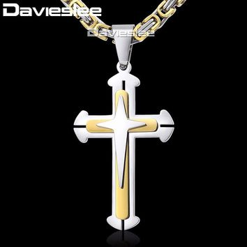 f11f9b3d1652e Cross Pendant Necklaces for Men Stainless Steel 3 Layer Knight C