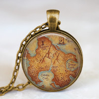 Peter Pan Neverland map  antique bronze necklace Peter Pan jewelry Round bezel resin pendant , fairy fantasy jewelry