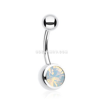 Jelly Belly Unity Gem Belly Button Ring (Rhodium Plated/Opal)