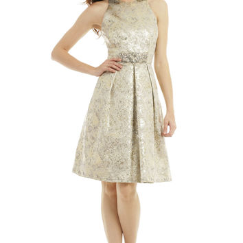 Carmen Marc Valvo Metallic Elderflower Dress