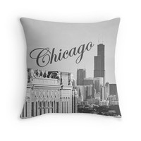 Photo Pillow Cover Chicago Photography Uptown Chicago Skyline Photo Illinois Home Decor Midwest Vintage Sign Pillow Case 16x16 18x18 20x20