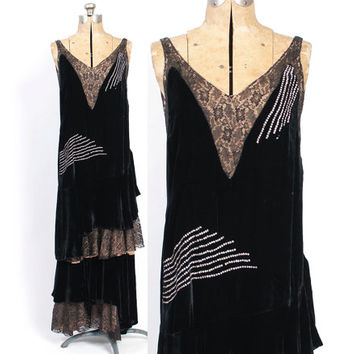Vintage 20s Evening DRESS / 1920s Black Silk VELVET & Lace RHINESTONES Nude Illusion Gatsby Flapper Dress S