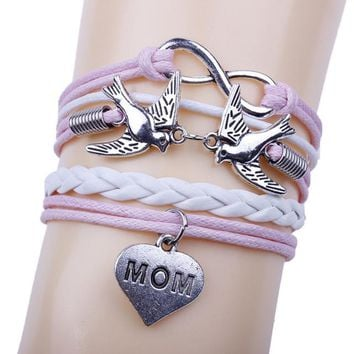 Birds Handmade Leather Braid Fashion Bracelet