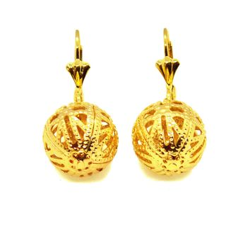 (1-1032-h10-1) Gold Overlay Cage Ball Earrings, 17 mm.