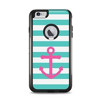 The Teal Striped Pink Anchor Apple iPhone 6 Plus Otterbox Commuter Case Skin Set