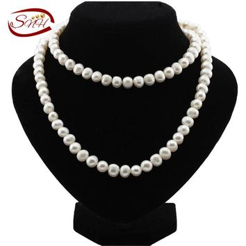 SNH 9mm Potato Shape 90cm A grade Natural Freshwater Long Pearl Necklace  Long Pearl Necklace for Woman