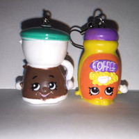 Shopkins Foodie Earrings - Coffee Drip & Toffy Coffee - repurposed toys