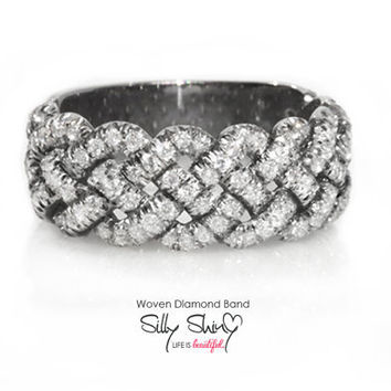 Woven Tire Diamond Band 14K Gold