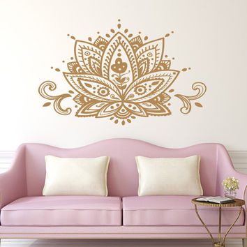 Lotus Flower Wall Decal Mandala Vinyl Sticker Decals Home Decor Boho Bohemian Bedroom Art Ornament Moroccan Pattern Namaste Yoga Studio x177