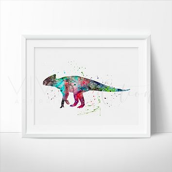 Archaeoceratops Dinosaur Watercolor Art Print