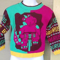Vintage 80s J J Poole Bright Purple Dinosaur Barney Wannabe Bikasaurus Sweater Jumper Size 3/4 Toddler