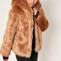 Missguided - Nude Hooded Faux Fur Coat