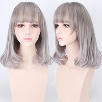 Medium Air Full Bang Tail Adduction Lolita Cosplay Synthetic Wig