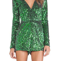 Green Sequined V-Neck Romper