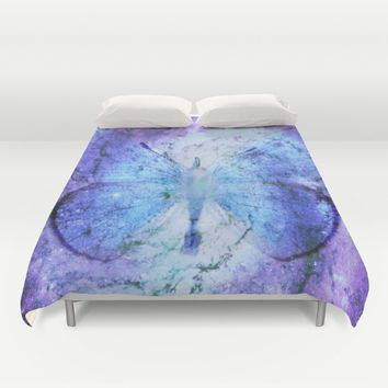 Celestial Butterfly Violet Blue Duvet Cover by 2sweet4words Designs