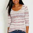burnout tee in ethnic print with long sleeves in toasted mauve