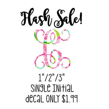 FLASH SALE! Single Initial Lilly Pulitzer Monogram Decal, Lilly Inspired , Lilly Pulitzer Decal, Lilly car decal, Lilly Pulitzer Yeti decal