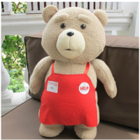 Big size Teddy Bear Ted 2 Plush Toys In Apron 45CM Soft Stuffed Animals Ted Bear Plush Dolls for baby kids gifts