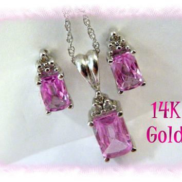14K White Gold ~  Pretty In Pink - 1980s Cushion Cut Pink Topaz Diamond Necklace & Earrings ~ Gift Boxed