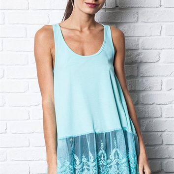 Umgee Ice Sleeveless Ribbed Tank Top with Lace Trim