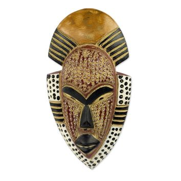 West African Hand Carved Wood Mask Wall Décor