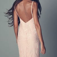 Pink maxi dress with bead and sequin embellishment
