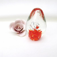 Vintage Glass Paper Weights / Crystal Glass Paperweight / Flower Paper Weight / Orange Blossom