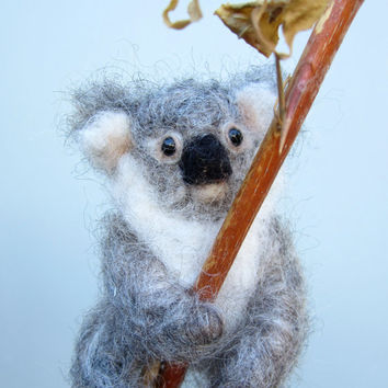 Needle felted koala, realistic koala baby,  soft sculpture, animal sculpture, exotic animals, posable