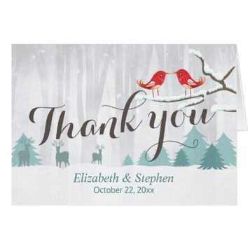 Winter Wonderland Birds Reindeer Wedding Thank You Card