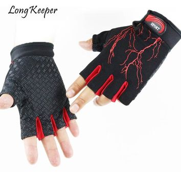 2018 Men Women Fitness Gloves With Lightning Pattern Summer Non-slip Breathable Sports Half Finger Gloves guantes By Long Keeper