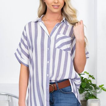 Vacay Striped Button Up Top
