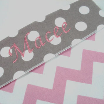 Personalized Chevron Baby Blanket Riley Blake Pink Gray